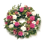 Wreath (Leaf Edging ) Pink and White