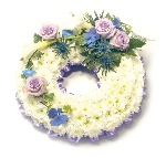 Wreath (Ribbon Edging ) LIlac and White
